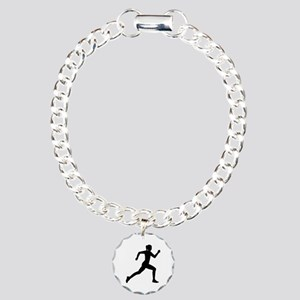 Running woman girl Charm Bracelet, One Charm