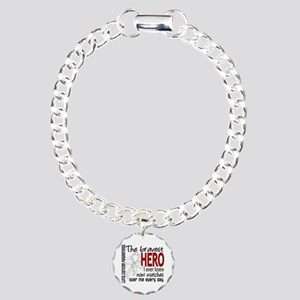 Bravest Hero I Knew Lung Cancer Charm Bracelet, On