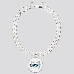 Cute Hipster Cat with Glasses Bracelet