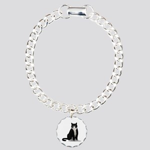 Black and White Tuxedo Cat Charm Bracelet, One Cha