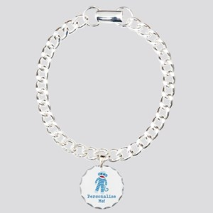 Baby Blue Sock Monkey Charm Bracelet, One Charm