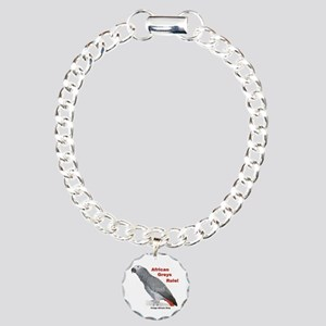 African Greys Rule! Charm Bracelet, One Charm