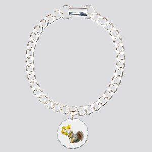 Squirrel Daffodils Charm Bracelet, One Charm