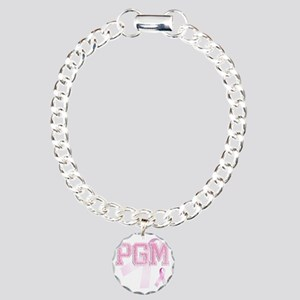 PGM initials, Pink Ribbo Charm Bracelet, One Charm