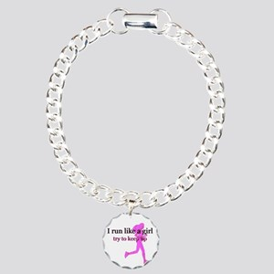 I Run Like a Girl Charm Bracelet, One Charm
