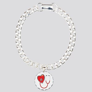 Heart with Stethoscope Charm Bracelet, One Charm