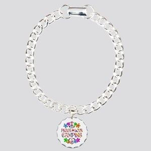 Peace Love Camping Charm Bracelet, One Charm