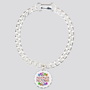 Peace Love Reading Charm Bracelet, One Charm