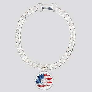 Patriotic Sunflower Charm Bracelet, One Charm