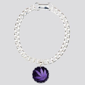 Purple Cannabis Leaf Charm Bracelet, One Charm