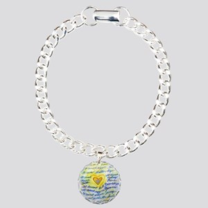Blue & Gold Heart Cancer Charm Bracelet, One Charm