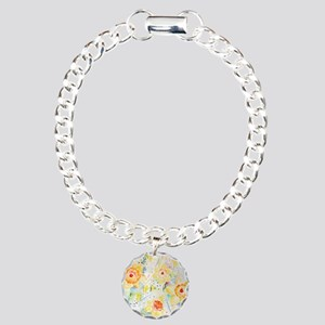 Watercolor Daffodils Pat Charm Bracelet, One Charm