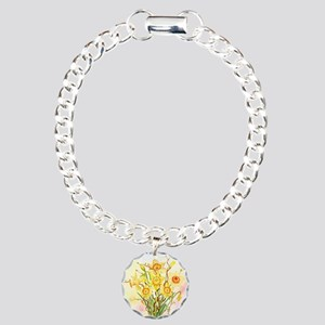 Watercolor Daffodils Yel Charm Bracelet, One Charm