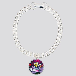 Lotus Flower Charm Bracelet, One Charm