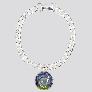 Starry Night/Italian Greyhoun Charm Bracelet, One