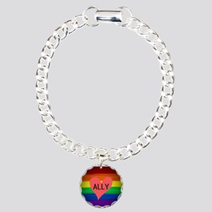 ALLY gay rainbow art Charm Bracelet, One Charm