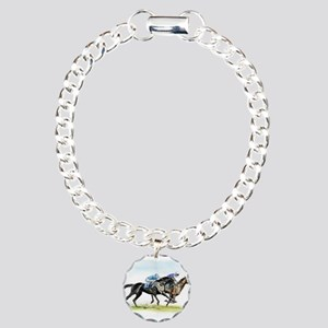 Horse race watercolor Charm Bracelet, One Charm