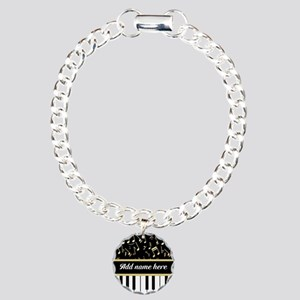 Personalized Piano and musical notes Charm Bracele