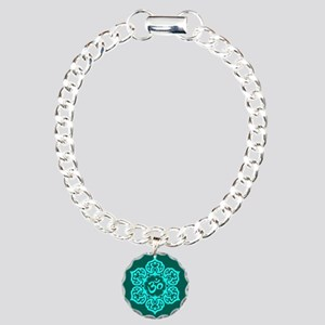 Teal Blue Lotus Flower Yoga Om Charm Bracelet, One