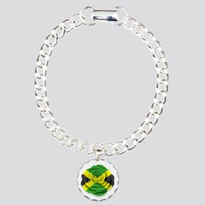 Jamaican Rose Flag on White Charm Bracelet, One Ch