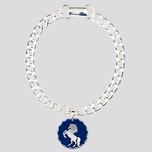 Silver Horse on Royal Bl Charm Bracelet, One Charm