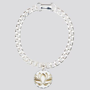 gold lotus Charm Bracelet, One Charm