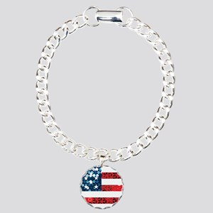 usa flag heart Charm Bracelet, One Charm