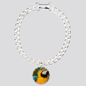 blue and gold macaw Charm Bracelet, One Charm