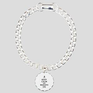 Keep calm and Marathon Charm Bracelet, One Charm