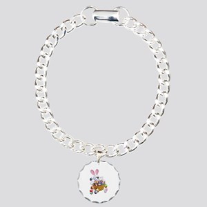Easter Bunny With Basket Charm Bracelet, One Charm