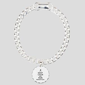 Keep calm and run Marath Charm Bracelet, One Charm
