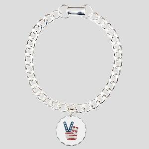 Peace Sign USA Vintage Charm Bracelet, One Charm