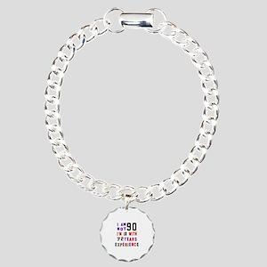 90 Birthday Designs Charm Bracelet, One Charm