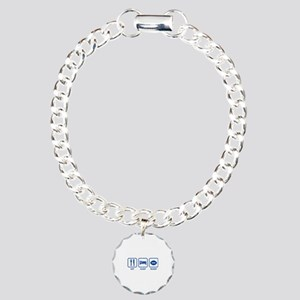 Eat Sleep Rugby Charm Bracelet, One Charm