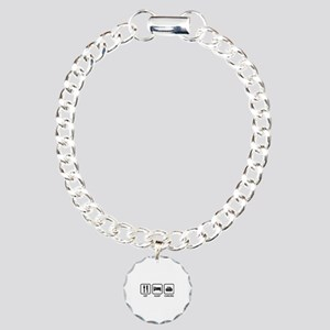 Eat Sleep Curling Charm Bracelet, One Charm