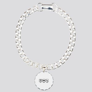 Eat Sleep Luge Charm Bracelet, One Charm