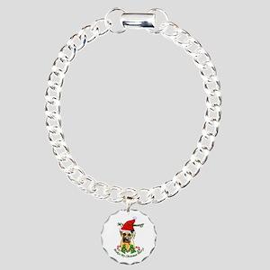 Bullmastiff Christmas Charm Bracelet, One Charm