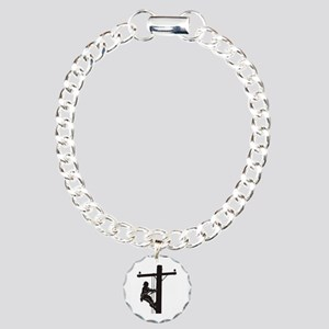 lineman silhouette 1_bla Charm Bracelet, One Charm