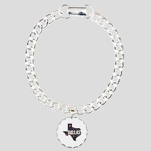 Dallas Texas Silhouette Charm Bracelet, One Charm