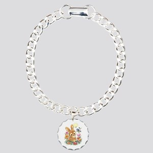 Cute Easter Bunny With Charm Bracelet, One Charm