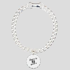 Cheers To 93 Years Birth Charm Bracelet, One Charm