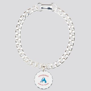 60th Anniversary Lovebirds Charm Bracelet, One Cha