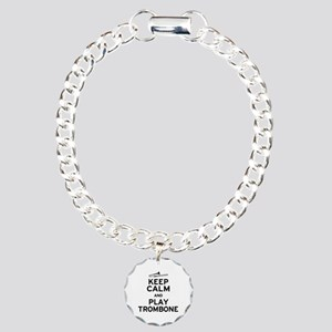 Keep Calm Play Trombone Charm Bracelet, One Charm