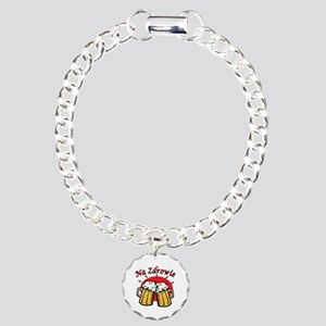 Na Zdrowie Toast With Beer Mugs Charm Bracelet, On