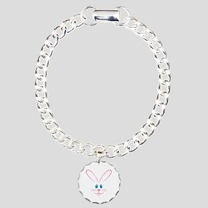 Pink Bunny Face Charm Bracelet, One Charm