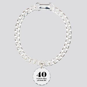 40th Birthday Humor Charm Bracelet, One Charm