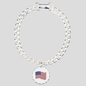American Flag Waving Charm Bracelet, One Charm