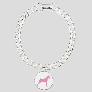 Pink Boxer Dog Charm Bracelet, One Charm
