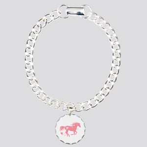 Pink Galloping Heart Horse Bracelet