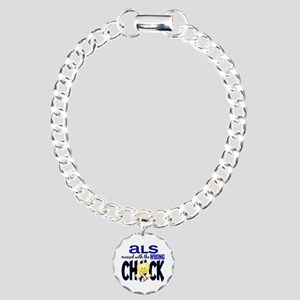 ALS Messed With Wrong Chick Charm Bracelet, One Ch